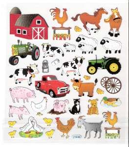 Farm animal cow pig sheep stickers silver accents NIP