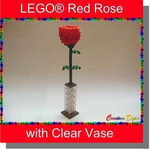 LEGO® Rose Flower Sculpture with Vase   Valentines Day