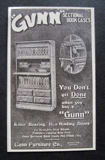 1906 Gunn Furniture Co. Grand Rapids MI Bookcase Ad
