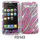 For HTC Vision G2 Pink Zebra Design Rhinestone Cover