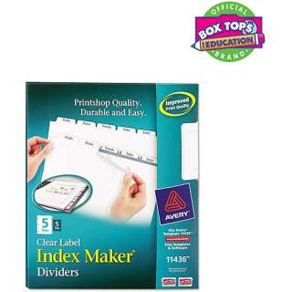 avery index maker clear label dividers 11436 5 tab 5