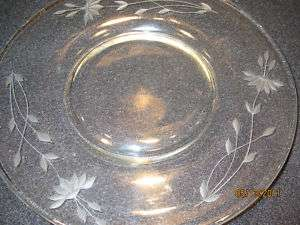 Antique Etched Glass Luncheon / Salad Plates