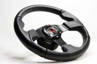 Black Stitch Leather Steering Wheel+HUB+Black Button Honda CRX/Integra