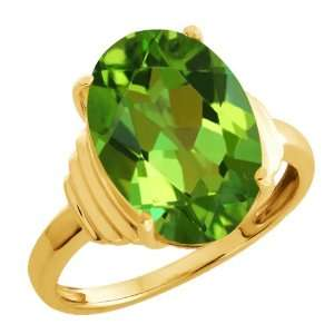Envy Green Oval Mystic Quartz and Green14k Yellow Gold Ring Jewelry