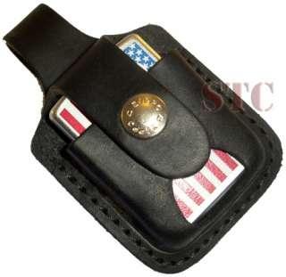 Zippo Black Leather Lighter Pouch Belt Loop Thumb Notch Lifetime