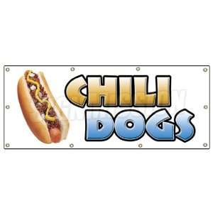 36x96 CHILI DOGS BANNER SIGN hot dog cart stand signs