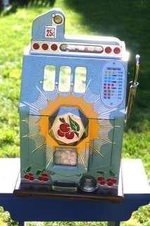 1937 MILLS 25 cents Bursting Cherry Slot Machine   SEE