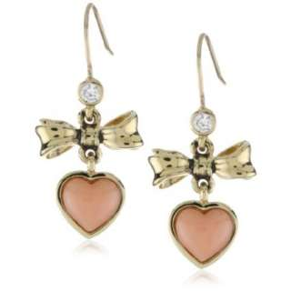 Juicy Couture Love Story Drop Earrings Gold Coral Bow Drop Earring