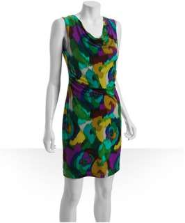 Calvin Klein lagoon printed jersey cowl neck sleeveless dress