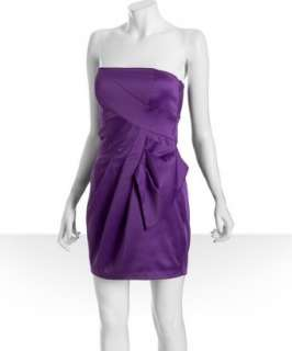 Max & Cleo royal purple satin pleated strapless dress   up to