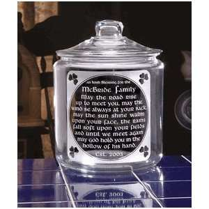 Personalized Old Irish Blessing Glass Cookie Jar