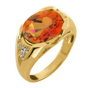 Oval Twilight Orange Mystic Quartz and Topaz Gold Plated Silver Ring