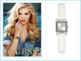GUESS U75047L1 WOMANS WATCH, WHITE LEATHER BRACELET, NWT 091661400582