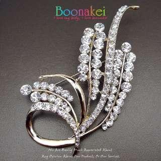 Clear White Swarovski Crystal Bling Bridal Brooch Pin J010