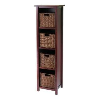 SOLID WOOD 3 Tier Storage Shelf with 6 Baskets   Walnut