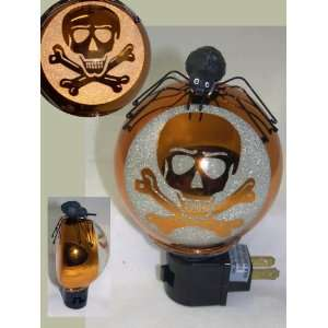 HALLOWEEN Scary SKULL & CROSSBONES Gothic Night Light with