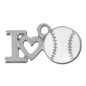 Silver Pewter I Love Baseball/Softball Charm Arts, Crafts & Sewing