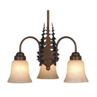 NEW 3 Light Rustic Tree Chandelier Lighting Fixture, Burnished Bronze