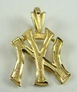 14K Yellow Gold Charm Pendant New York Yankees Logo 3/4